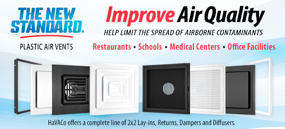 Improve Air Quality - Complete Line of Plastic Air Vents for Restaurants, Schools, Medical Centers,